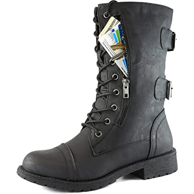 Amazon.com | DailyShoes Women's Military Ankle Lace Up Buckle ...