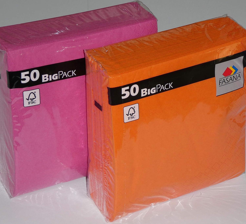 100 servilletas=50 x colores naranja, naranja brillante (naranja exótica) + 50 x lila fuerte (rosa amor) - 33x33 cm - 13x13 pulgadas - 3 capas - 1/4 pliegue: Amazon.es: Salud y cuidado personal