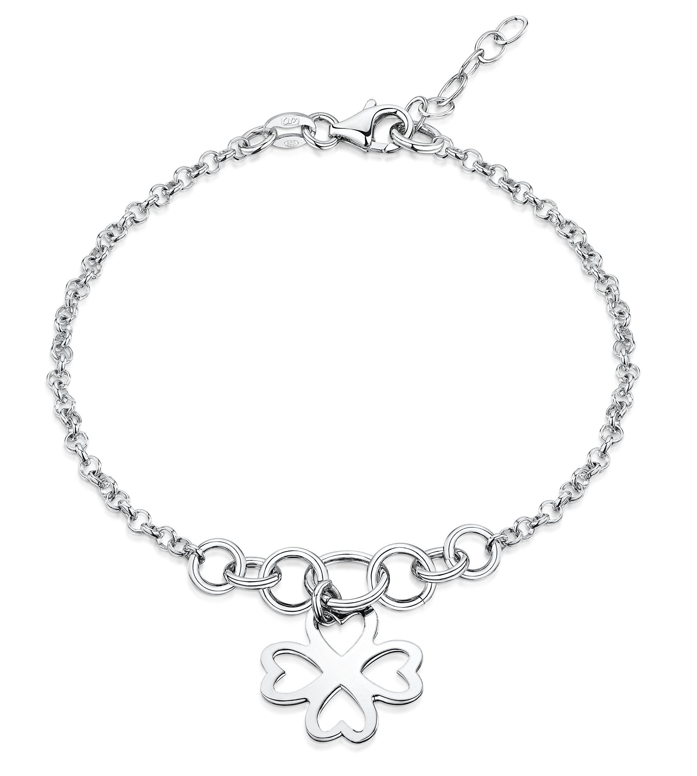 Amberta 925 Sterling Silver Adjustable Ankle Bracelet - 2.4 mm Rolo Chain Anklet with Large Hoops and Shamrock Flower Tag - 9'' to 10'' inch - Flexible Fit