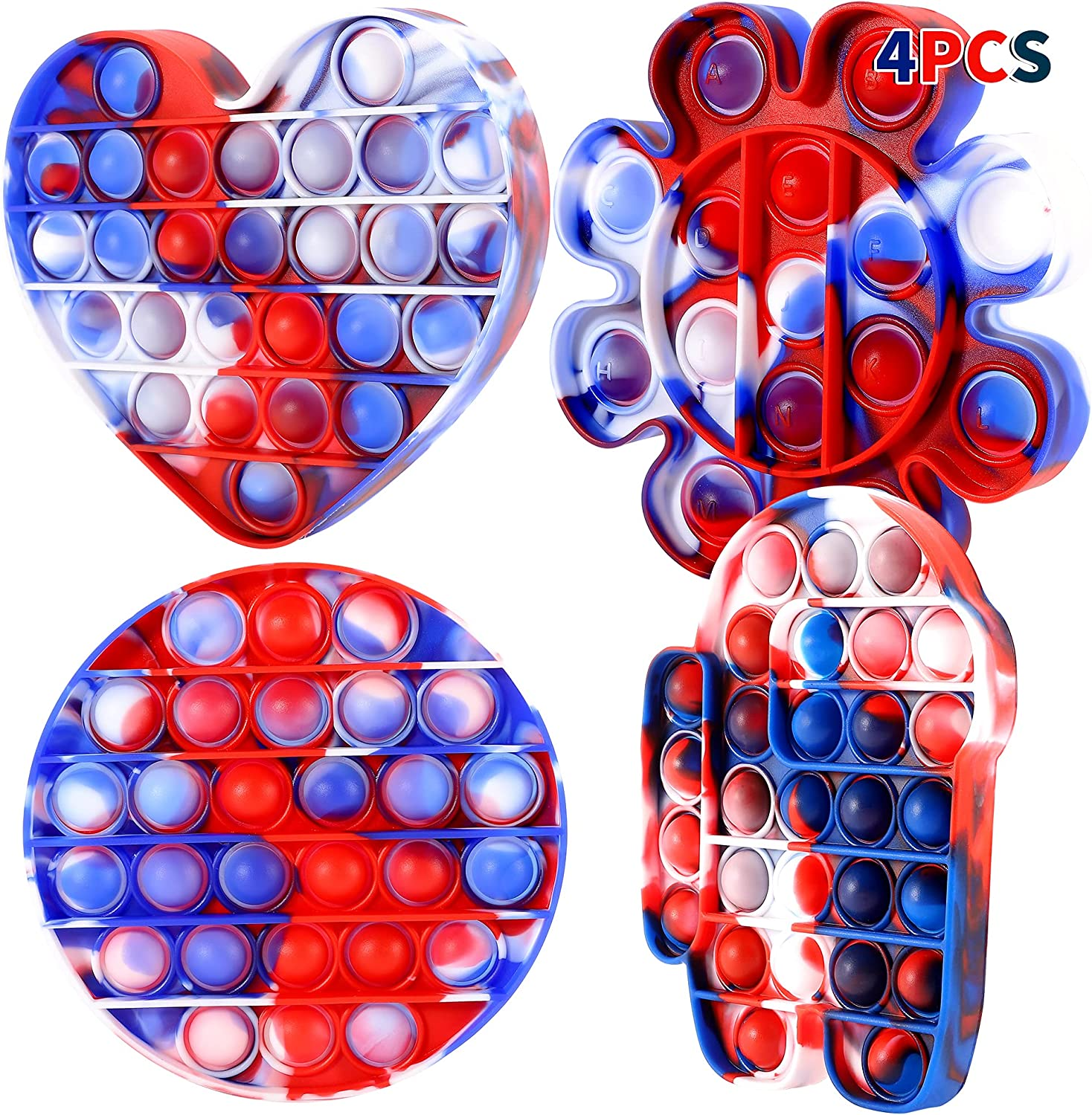 F FiGoal 4 PCS Pop Bubble Fidget Toy, Stress Relief Anxiety Squeeze Sensory Toys Autism Special Needs Stress Reliever for Home School & Office Kids Family