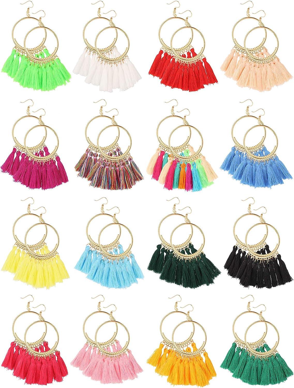 Sntieecr 14 Pairs Tassel Hoop Earrings Bohemia Colorful Fan Shape Drop Earrings Statement Hoop Dangle Earrings for Women Girls Daily Wear Party Supplies