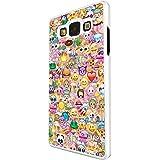 925 - Collage Multi Smiley Faces Emoji Design For Samsung Galaxy Grand Prime Fashion Trend CASE Coque Protection Cover plastique et métal - Blanc