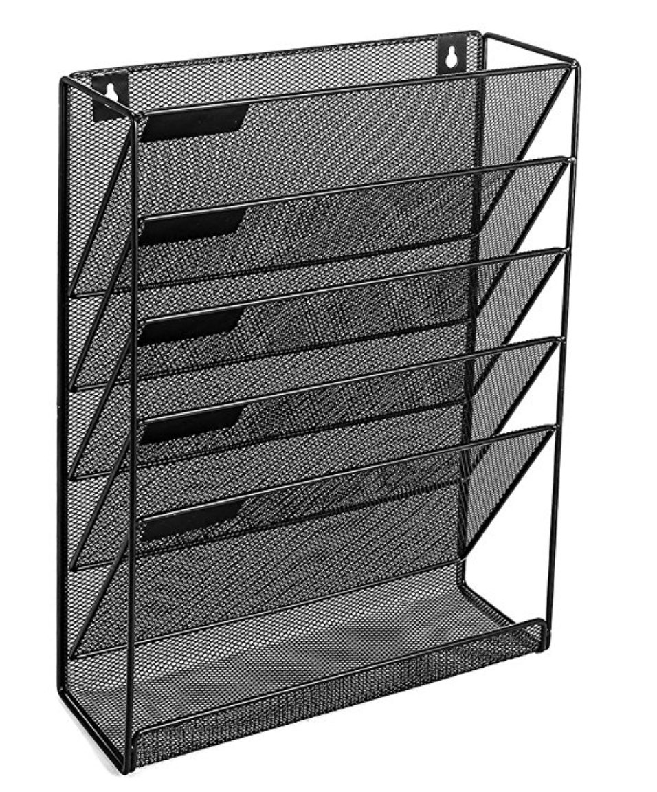 Vertical File Organizer for Home and Office | Mail Holder, Magazine Rack and File Storage. Black | by Omni SolidWare