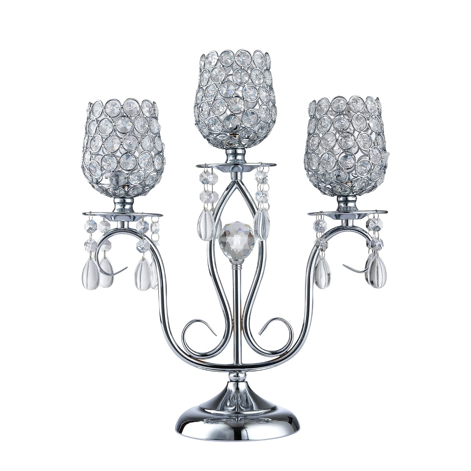 Thaiconsistent Silver candelabra centerpiece 3 arm candle holder crystal for Wedding Birthday Festival Housewarming Coffee Candlelit Banquet Dining Table Fireplace Wall Candlestick by Thaiconsistent