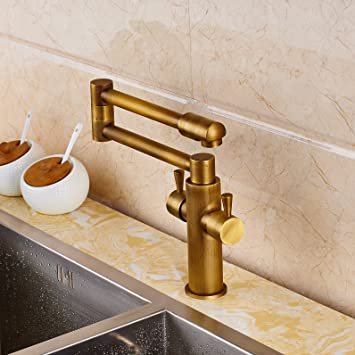 senlesen deck mount antique brass bathroom faucet kitchen sink mixer tap swivel spout with cove plate. Interior Design Ideas. Home Design Ideas
