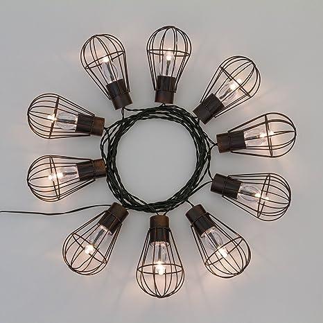 Guirnalda solar 10 Bombillas Edison Vintage, 4,5 m, LED luz cálida,