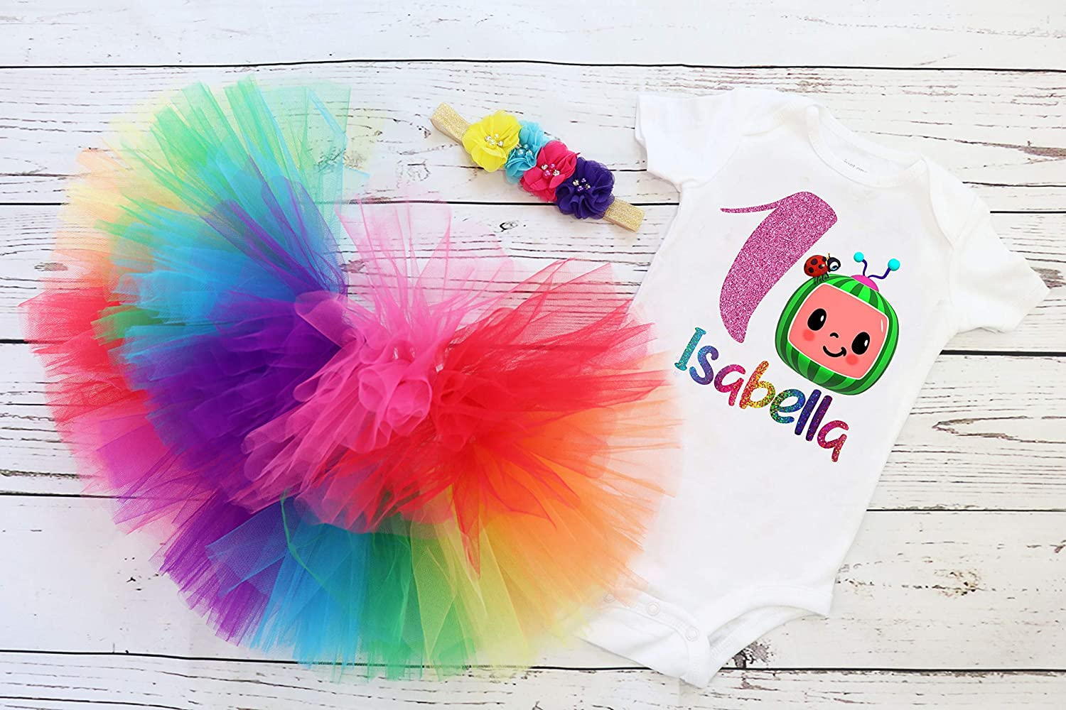Coco Melon Tutu 7th Birthday Dress Name Personalized Outfit Custom Family Matching Shirt Age Name Baby Girl 1st,2nd,3rd,4th,5th,6th,7th.