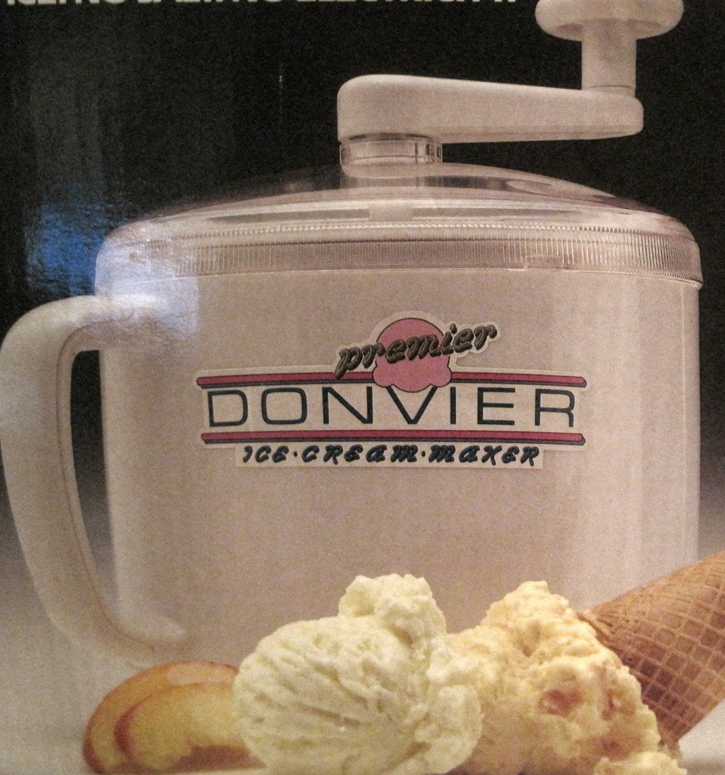 Premier Donvier Hand-Crank Ice Cream Maker, 1 Quart, WHITE