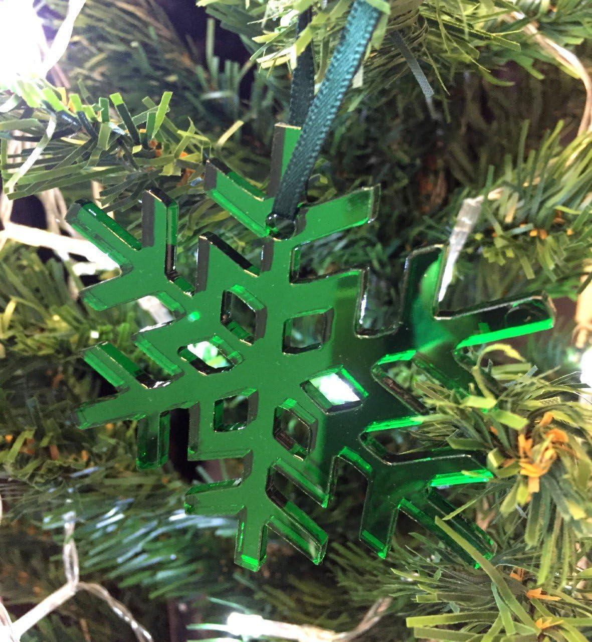 Super Cool Creations Copo de Nieve Cristal Adornos para Árbol De Navidad - Pack DE 10 - Verde: Amazon.es: Hogar