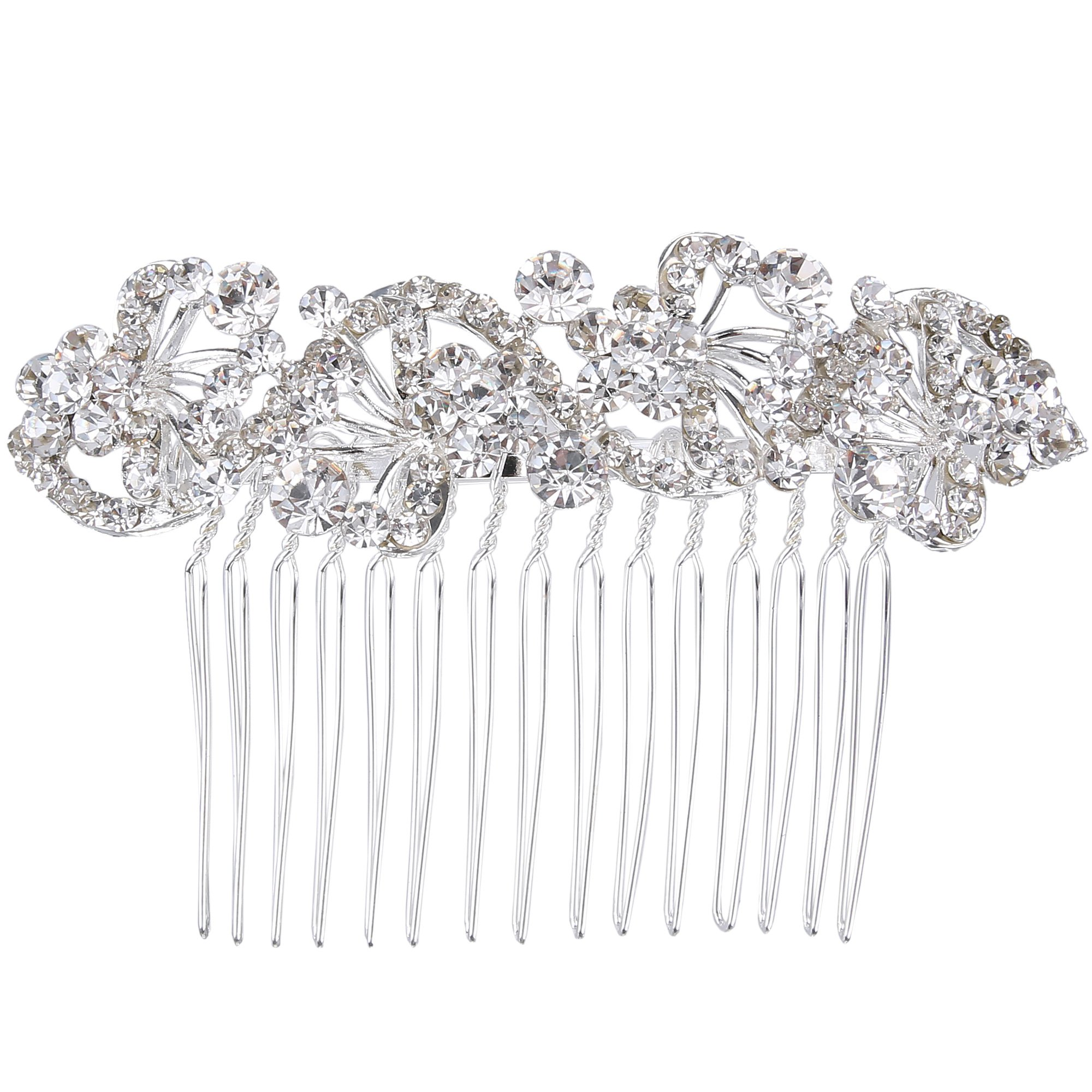 BriLove Wedding Hair Accessories Bridal Hair Comb Bohemian Crystal Charming Wave Shape Flower Bride Side Comb for Women Silver-Tone Clear by BriLove
