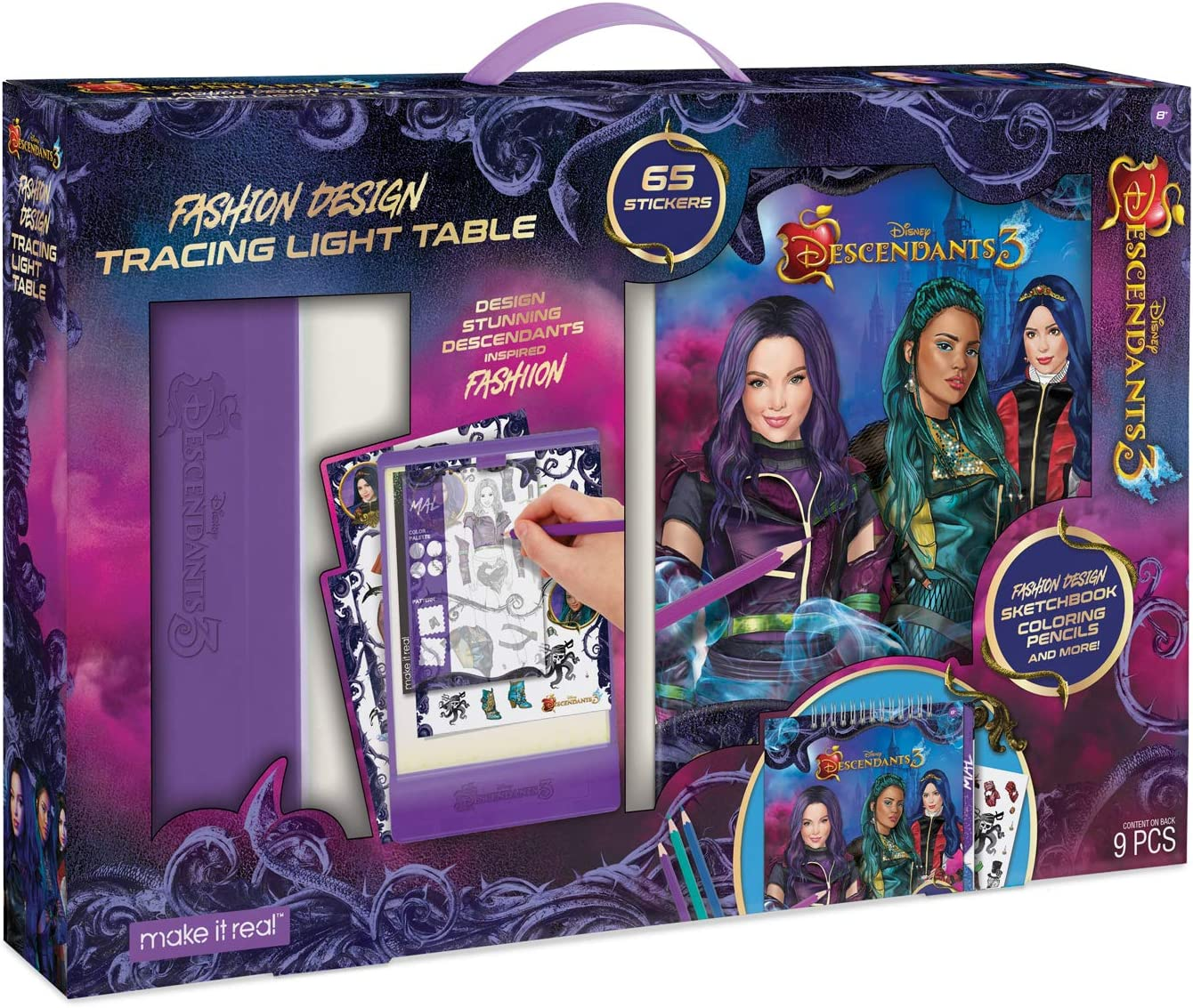 Amazon Com Make It Real Disney Descendants 3 Sketchbook With Tracing Light Table Fashion Design Tracing And Drawing Kit For Girls Includes Sketch Pages Stencils Stickers And Backlit Tracing Pad Toys