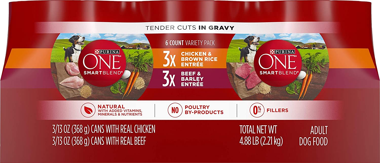 Purina ONE SmartBlend Wet Dog Food, Tender Cuts Variety Pack, 13 oz Cans, Pack of 6