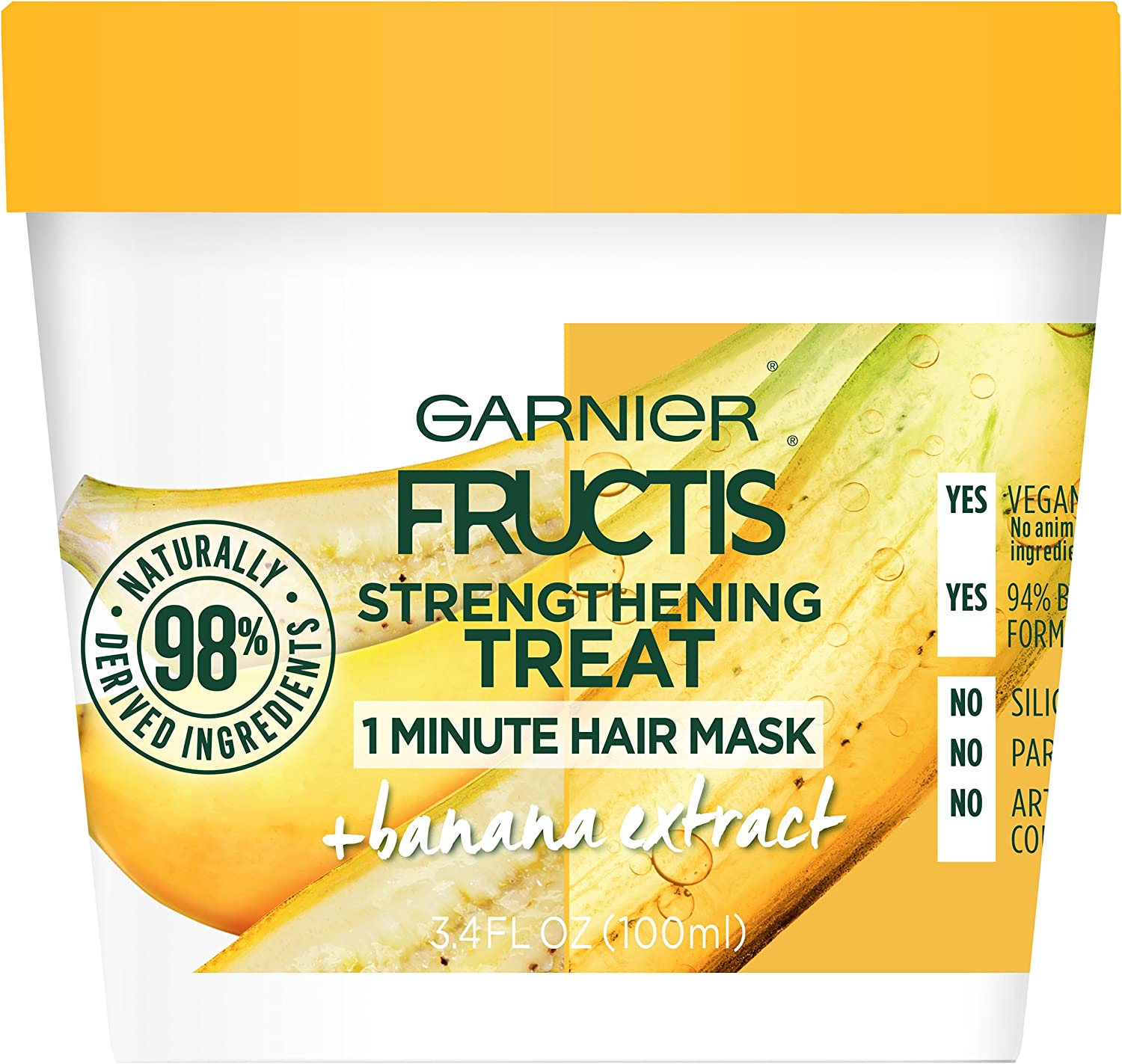 Garnier Fructis Strengthening Treat 1 Minute Hair Mask with Banana Extract, 3.4 Fl Oz (Pack of 1)