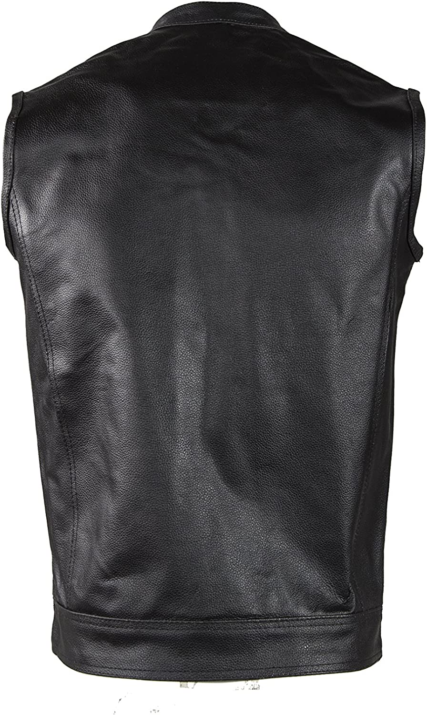 Dream Apparel Mens Leather Vest With Concealed Carry Pocket /& Black Liner MV320-11-36
