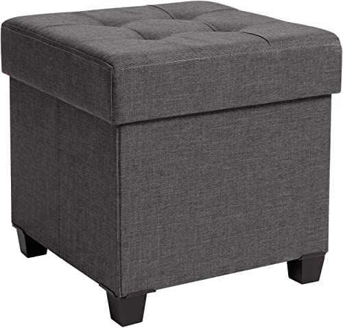SONGMICS Collapsible Cube Storage Ottoman Foot Stool Comfortable Seat with Wooden Feet and Lid, Soft Padding, Dark Grey ULSF14GYZ