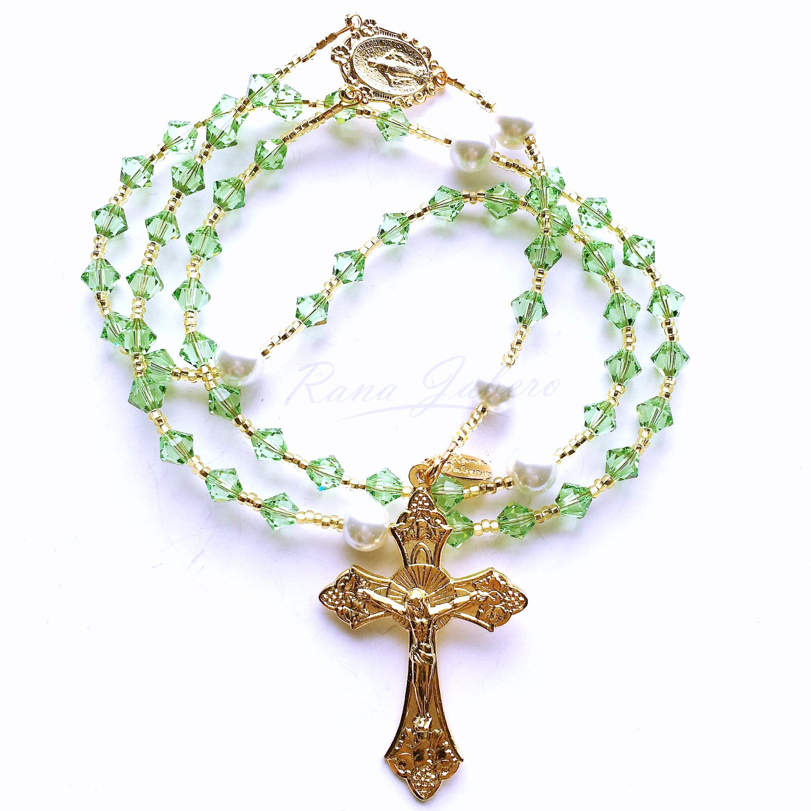 Rana Jabero Gold Peridot (August Birthstone) Swarovski Crystal and Glass Pearl Rosary