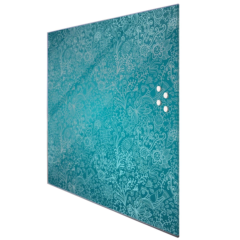 Pinnwand aus Glas magnetisch BANJADO Glas Magnettafel beschreibbar 50 x 50 cm gro/ß Glastafel mit Motiv Mandala Landschaft Memoboard mit 4 Magneten
