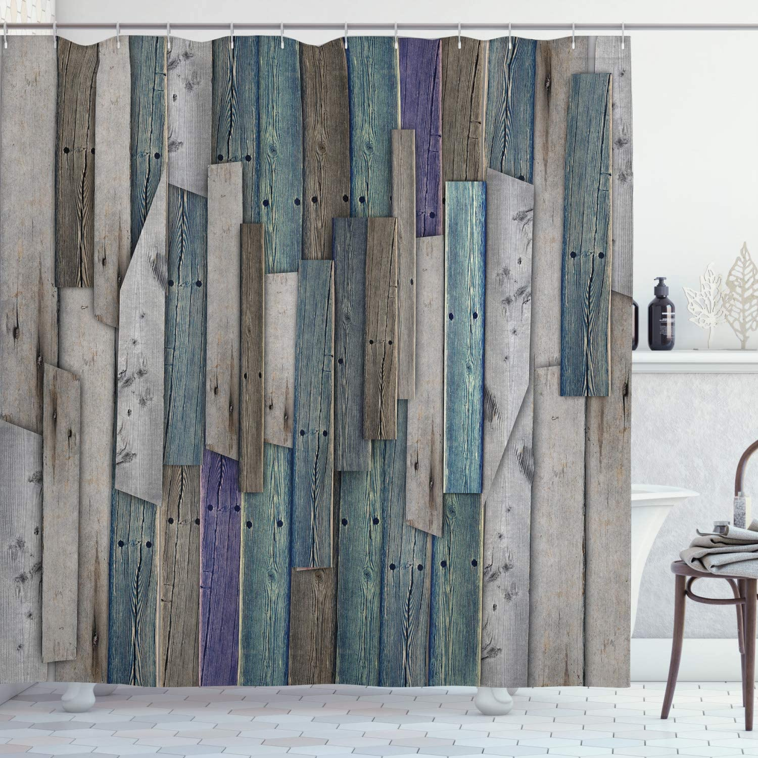 """Ambesonne Rustic Shower Curtain, Image of Blue Grey Grunge Wood Planks Barn House Door Nails Country Life Theme Print, Cloth Fabric Bathroom Decor Set with Hooks, 75"""" Long, Teal Purple"""