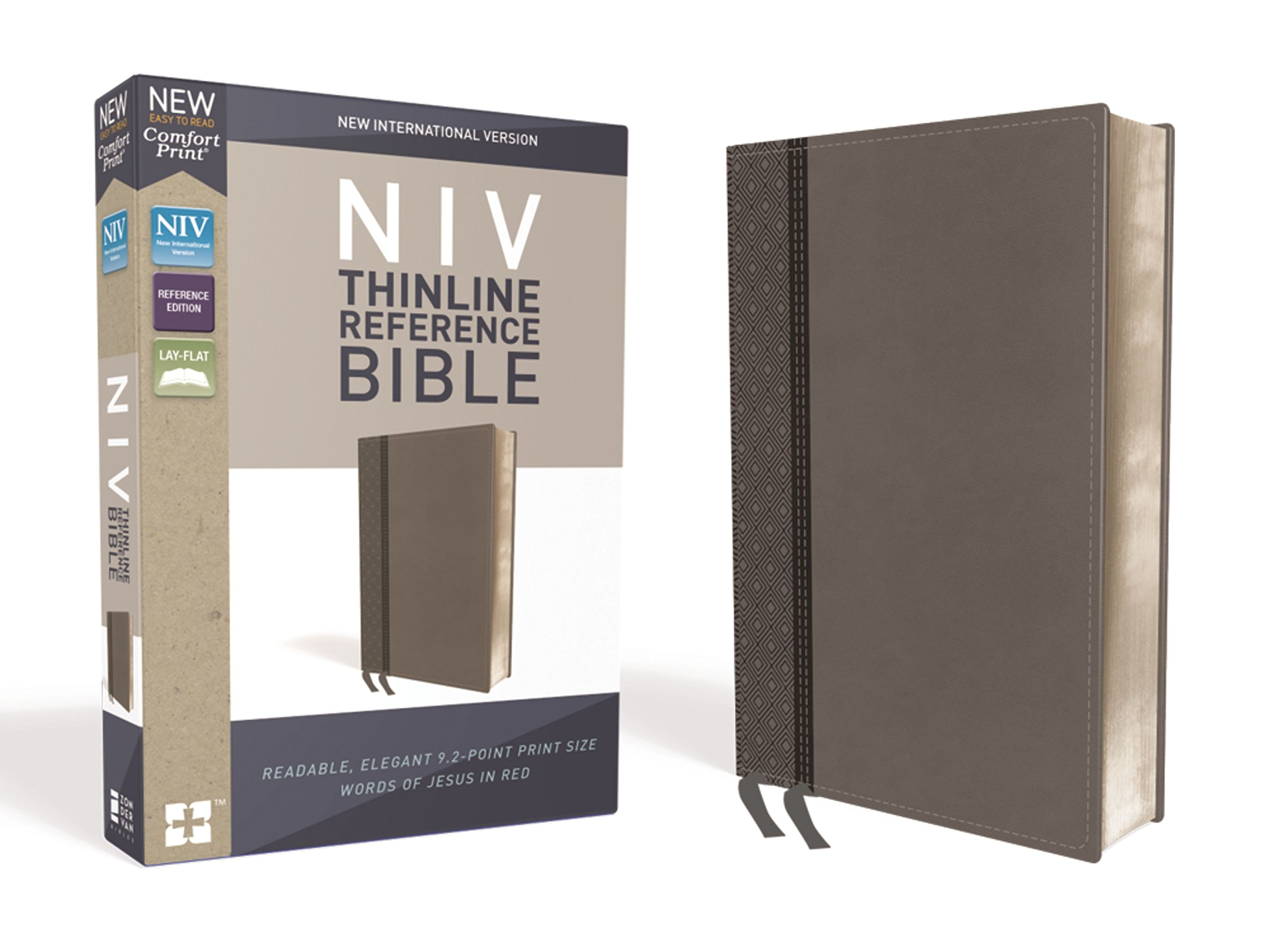 NIV, Thinline Reference Bible, Leathersoft, Gray, Red Letter Edition,  Comfort Print: Zondervan: 0025986449698: Amazon.com: Books