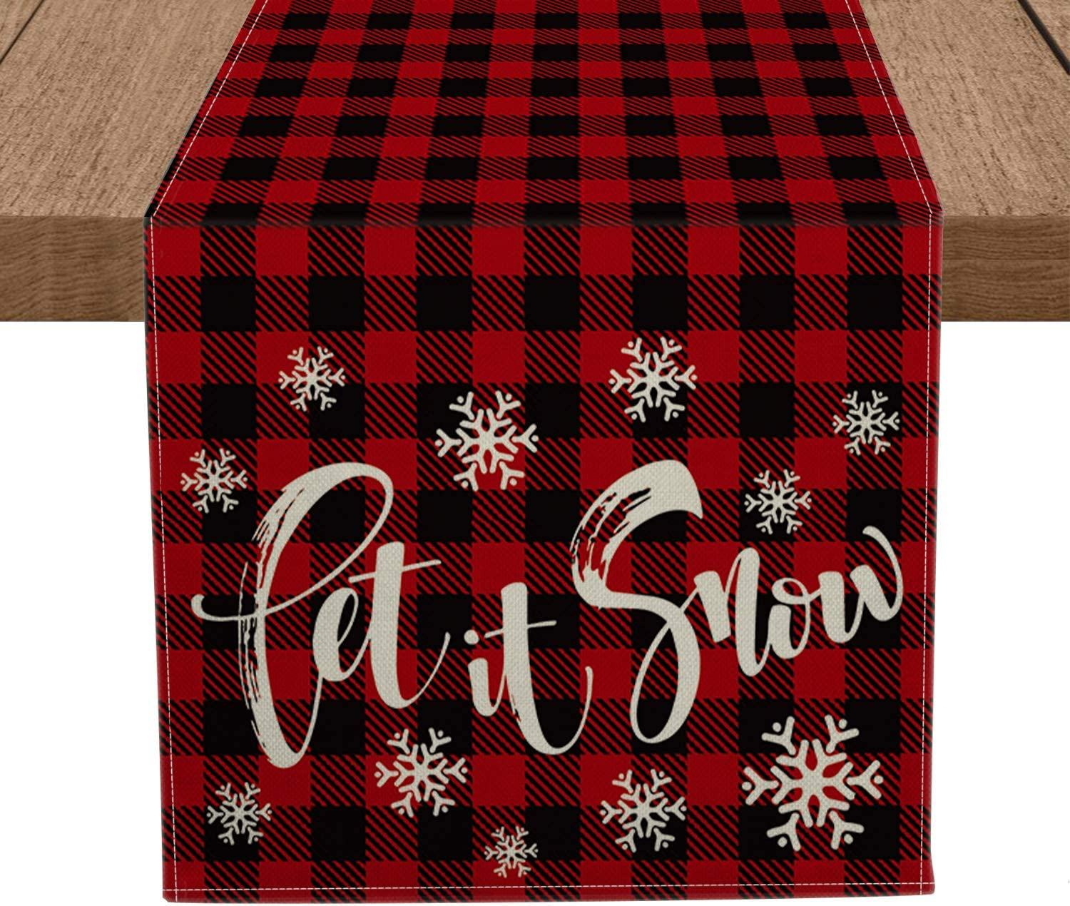 Artoid Mode Red and Black Buffalo Plaid Let It Snow Table Runner, Seasonal Winter Christmas Holiday Tablecloth Kitchen Dining Table Linen for Indoor Outdoor Home Party Decor 13 x 72 Inch