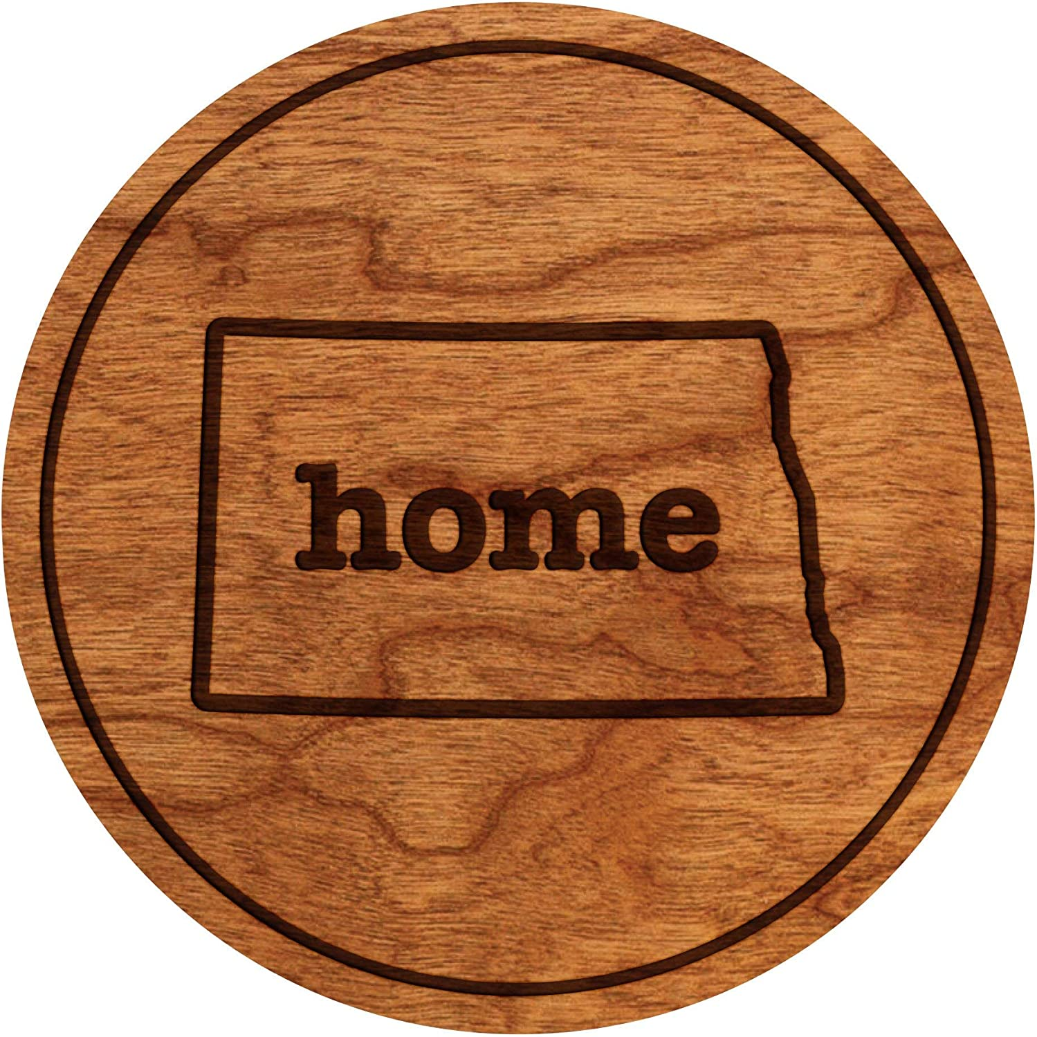 LazerEdge State Map Home Wooden Coasters (Set of 4) (North Dakota)