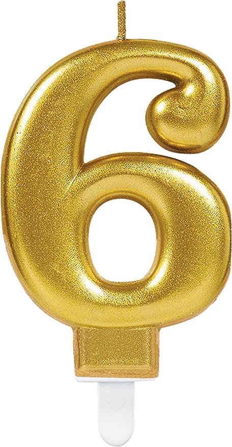 CARPETA® Número Vela * Número 6 * en oro con ranuras Soporte ...
