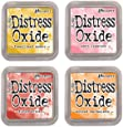 Ranger Tim Holtz Distress Oxide Ink Pads - Fossilized Amber, Worn Lipstick, Fired Brick and Spiced Marmalade
