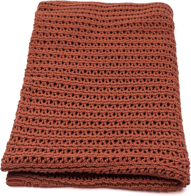 Vezavena | Manta de Estilo Crochet 100% Algodón en Color Caldero para Sofás o Camas | Textil de Hogar para Salón o Habitación - 120x170 cm