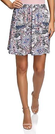 oodji Ultra Mujer Falda de Viscosa con Estampado, Rosa, ES 44 ...