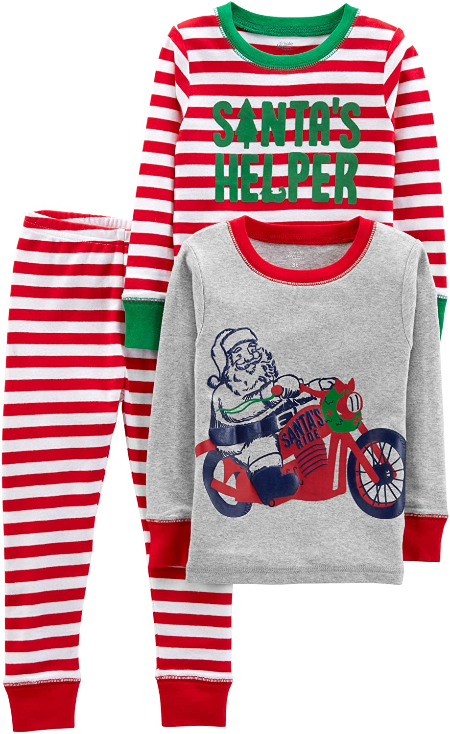 Simple Joys by Carter's Baby, Little Kid, and Toddler Boys' 3-Piece Snug-Fit Cotton Christmas Pajama Set: Clothing