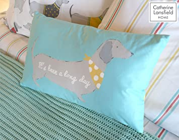 Catherine Lansfield Silly Sausage Dog Reversible Multi Coloured Duvet Cover Set