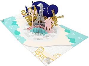 Sweet Couple in Paris - Wow 3D Pop Up Card for All Occasions - Birthday, Congratulations, Good Luck, Anniversary, Get Well, Love, Valentine - Fold Flat, Envelope Included