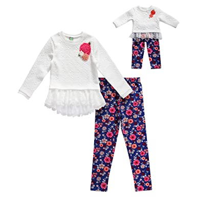 Dollie   Me Girls  Little Sweater Lace Tunic with Legging and Matching Doll  Outfit 7a57c0bd2