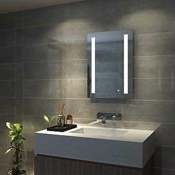 AQUABATOS Badspiegel LED Beleuchtung Wandspiegel Badezimmerspiegel mit  Touchschalter (70 x 50 cm, kaltweißen)
