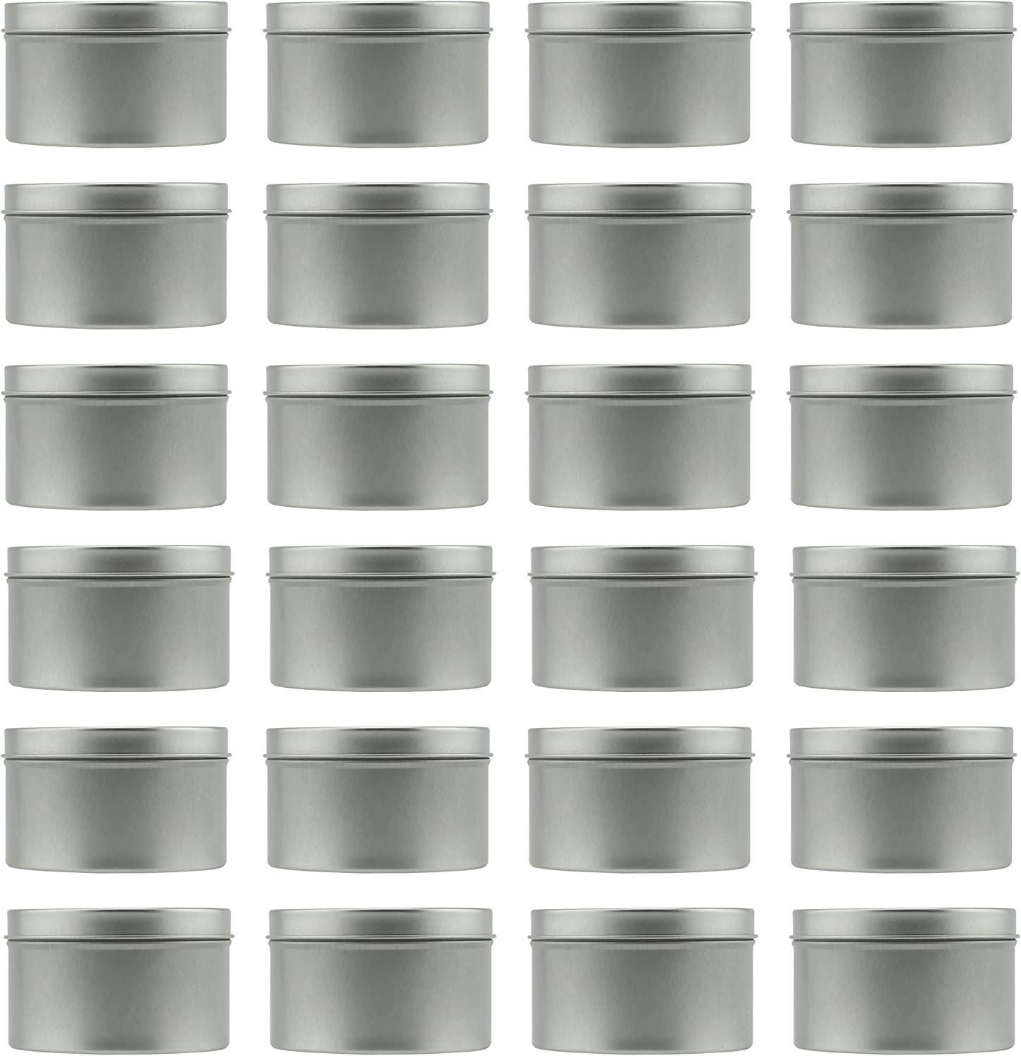 8-Ounce Metal Candle Tins (24-Pack); Round Containers For Candles, Arts & Crafts, Storage & More, Bulk Quantity