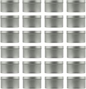 RUODON 24 Pack 2.5 Ounces Candle Tins Candle Containers Candle Making Supplies with 100 Pack Cotton Candle Wicks and 2 Pack Centering Device for Candle Making Arts Nursery Pot Crafts Storage