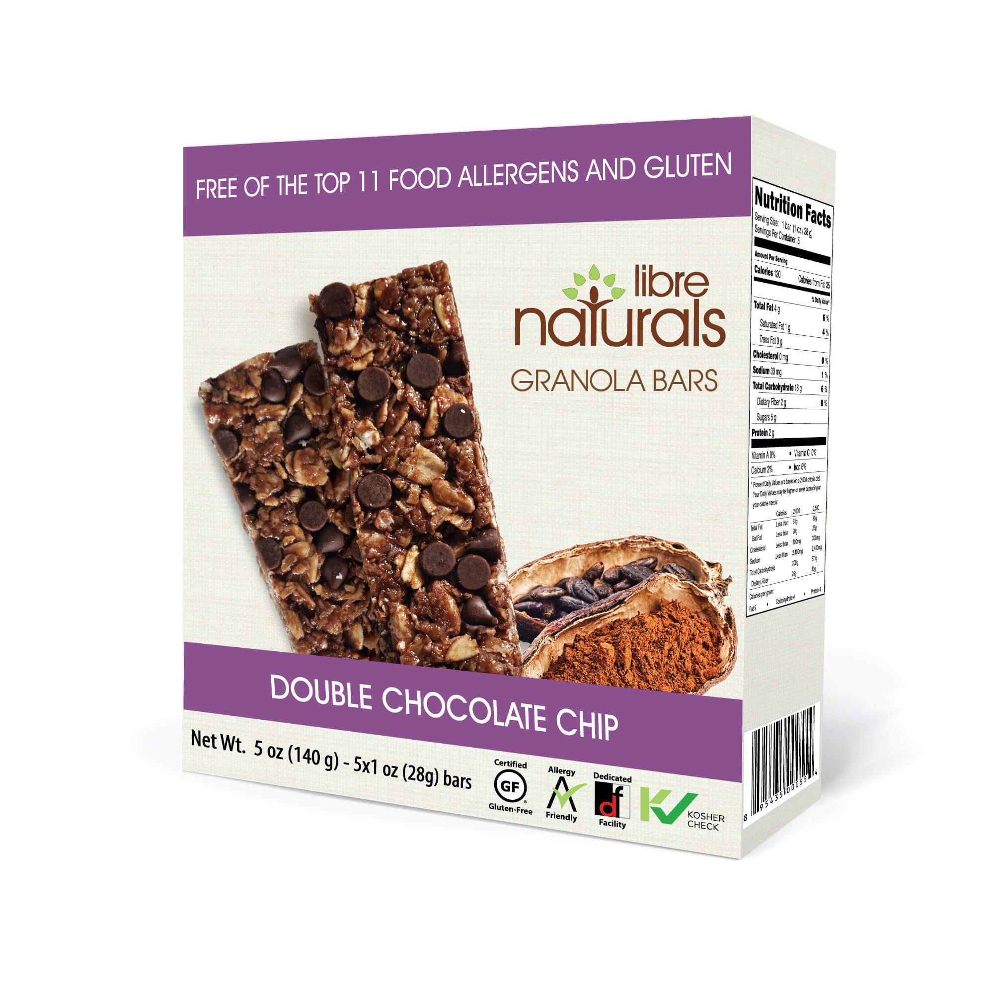 Nut Free, Gluten Free >> Double Chocolate Chip Vegan Granola Bar - Libre Naturals, 28 gram, 5 pack x 6 (30 Bars)