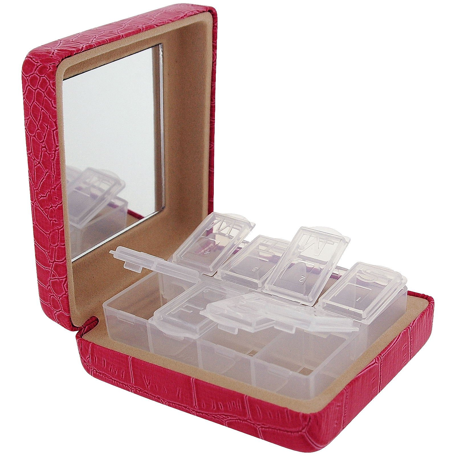 Travel Pill Box Pink Crocodile Effect 8 Compartment Pill Case With Mirror SC1030 by Danielle by Danielle