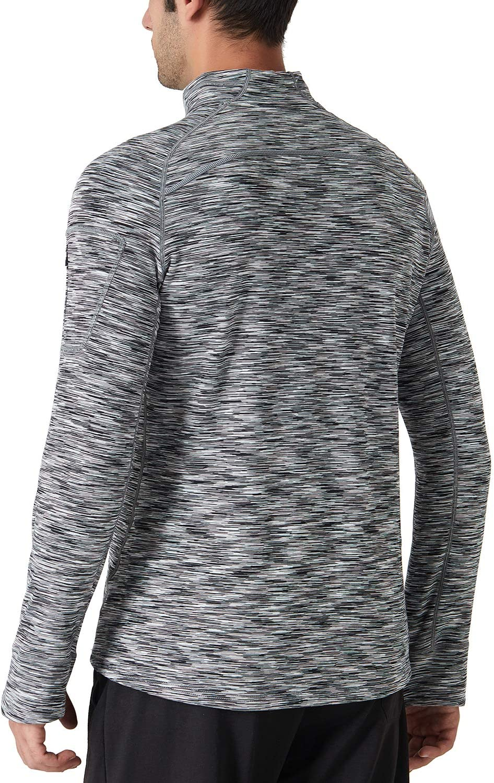 NAVISKIN Camiseta Deportativa Tops de Manga Larga de Running Fitness para Hombres Forro Polar Half Zip Bolsillo Entrenamiento de Invierno