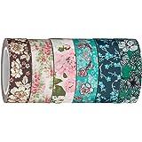 Washi Tape | Evermae Design Co. -- Vintage Florals Premium Japanese Washi Tape, Set of 6 Rolls