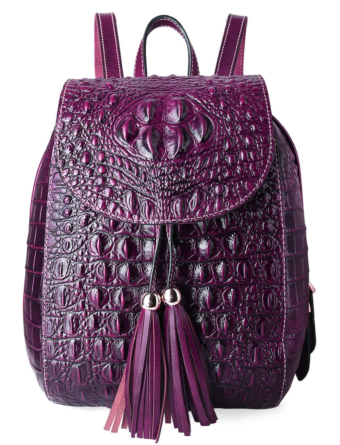 Pifuren Women Fashion Genuine Leather Backpacks Crocodile Bag (E76810, Violet)