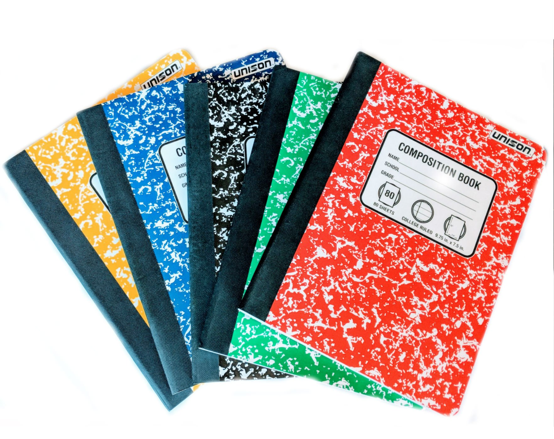 Bundle of 5 Marbled College Ruled Composition Notebooks: One Black, Red, Yellow , Blue , Green