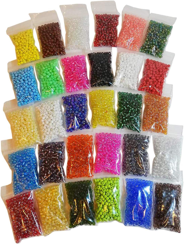 600 g 4 mm 30 Colores Cuentas de Vidrio Rocailles Cuentas de Vidrio Redondo No6, 8000 Piezas Mini Cuenta Seed Beads Z21