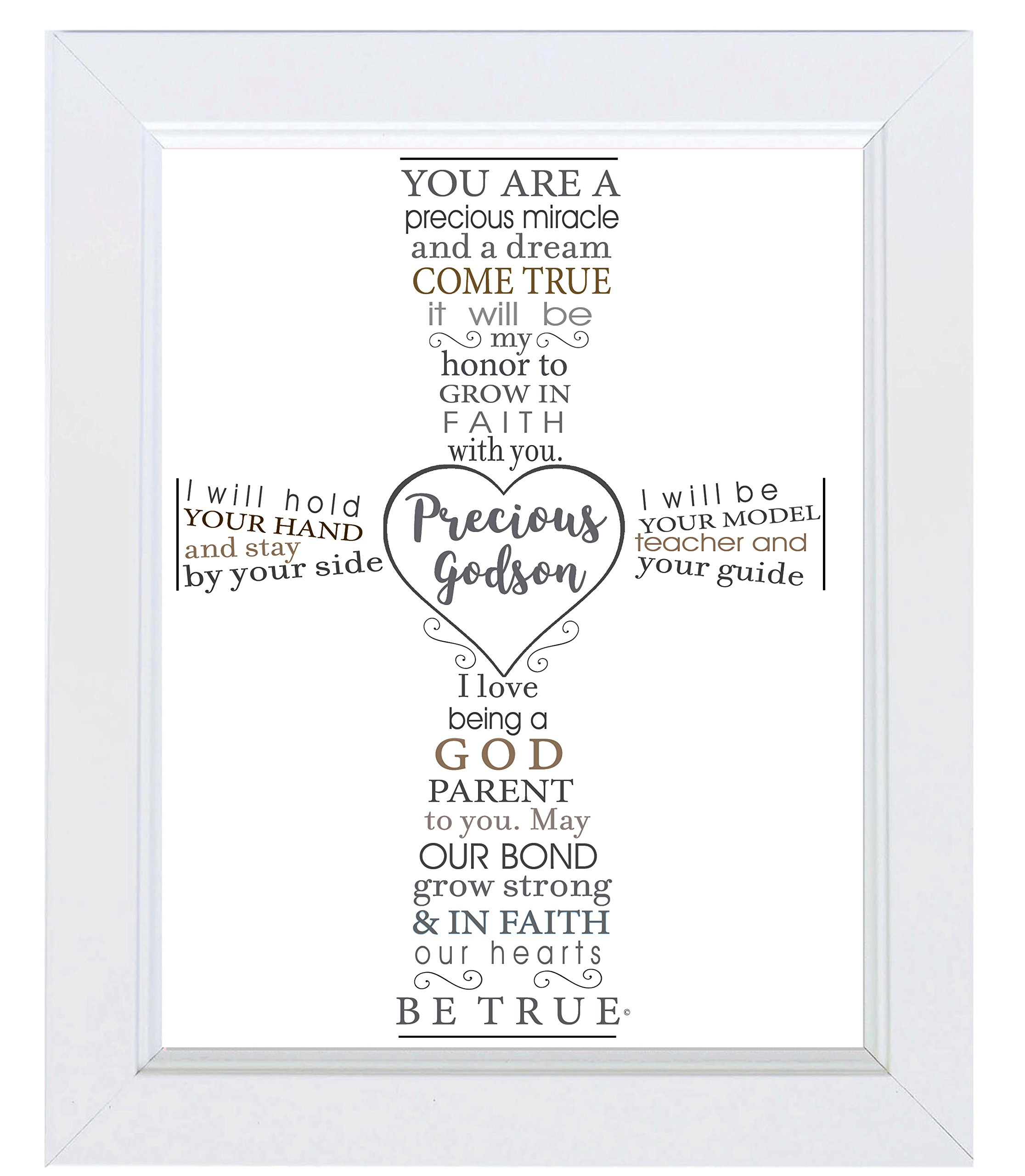The Grandparent Gift Precious Godson Frame Baptism or Christening Gift from Godparent, White by The Grandparent Gift Co.