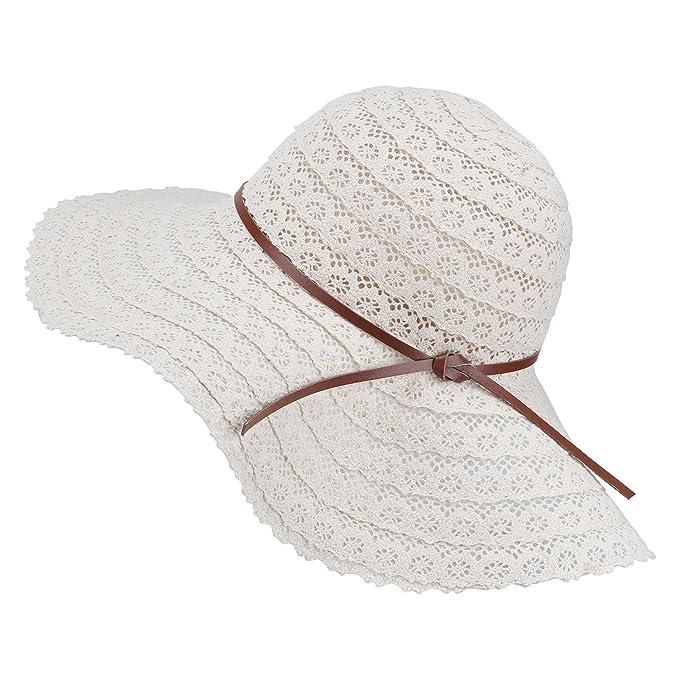 Magic Zone Donna UPF Cappelli Panama Fedora di Paglia Estiva Cappelli da  Sole da Spiaggia Pieghevole 17fa1abee012