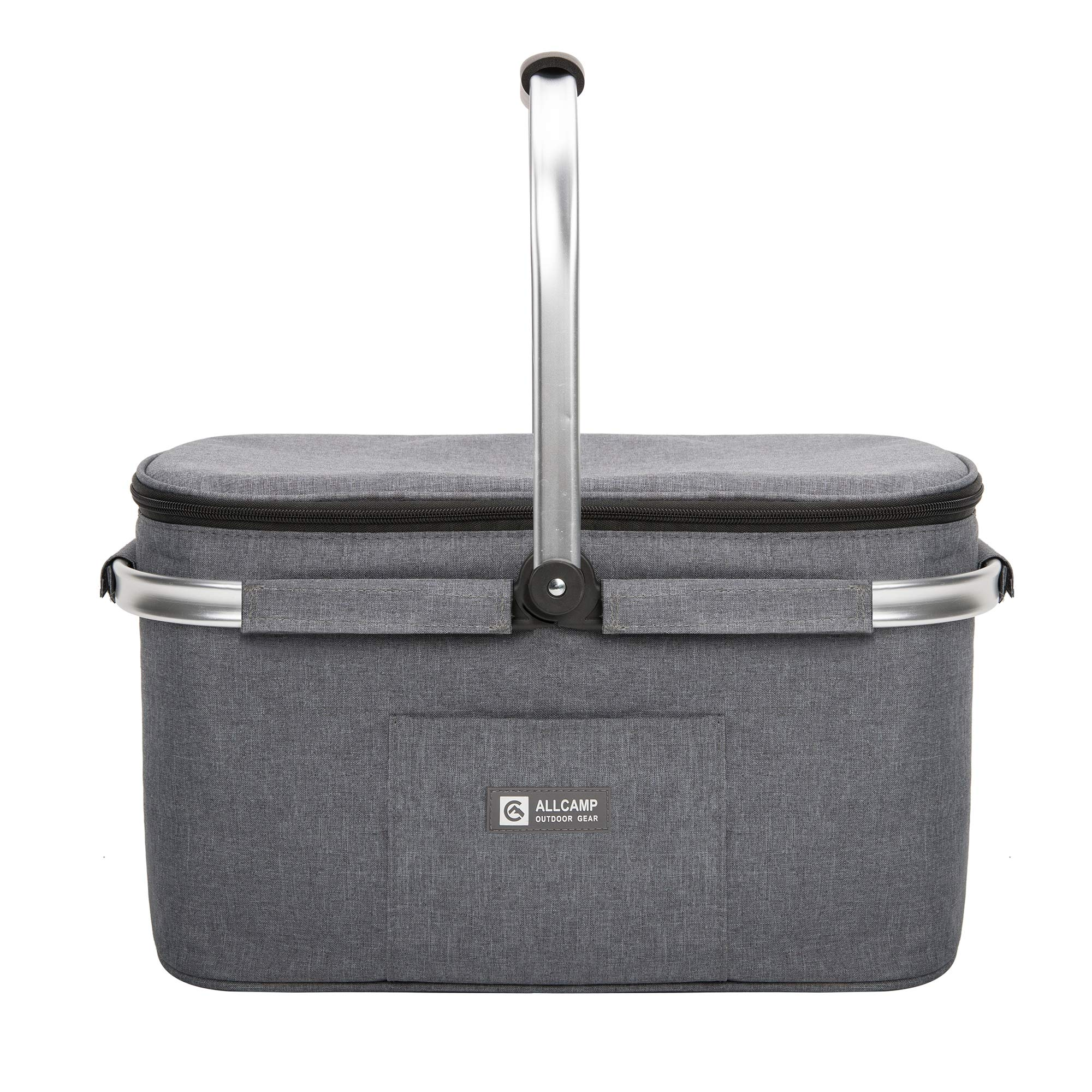 apollo walker Lightweight Picnic Basket Insulated Cooler Bags for 4 Person 32L Large Family Size with 2 Ice Packs(Dark Gray) by apollo walker