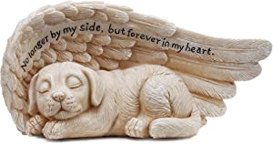 Napco 11146 Small Sleeping Dog in Angel's Wing Garden Statue with Inscription, 8 x 4