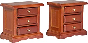 Inusitus Wooden Dollhouse Night Stands | Set of 2 | Bedside Tables | Dolls House Furniture | 1/12 Scale (Medium)