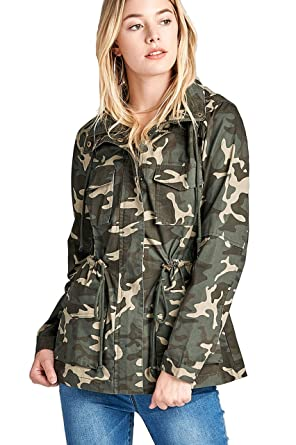 38f37faeb92b0 Amazon.com: Khanomak Women's Camouflage Print Drawstring Waist with Hoodie  Cotton Utility Jacket (Small, Olive): Clothing