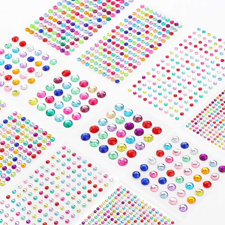 Rhinestone Stickers Clear Decor DIY Crafts Gartful 2790PCS Round Self Adhesive Crystal Sticker Jewel Gem Sticker in 4 Sizes for Scrapbook Embellishments Wedding
